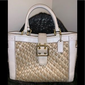 Coach White Straw Suede Leather Tote